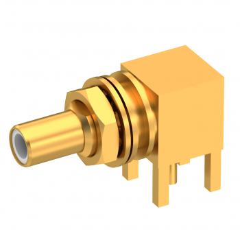 SLB / RIGHT ANGLE JACK RECEPTACLE MALE GOLD FLOAT MOUNT/BLIND MATE - REAR MOUNT