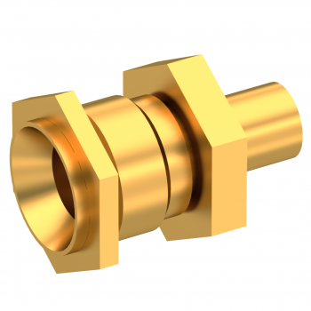 SMP / STRAIGHT BULKHEAD JACK FEMALE SOLDER TYPE FOR .085''/50 SR CABLE GOLD SMOOTH BORE