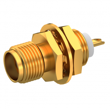 SMA / STRAIGHT JACK RECEPTACLE FEMALE GOLD FRONT MOUNT