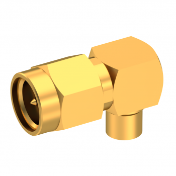 SMA / RIGHT ANGLE PLUG MALE SOLDER TYPE FOR .141''/50 SR GOLD
