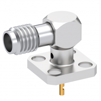 SSMA / RIGHT ANGLE FEMALE SQUARE FLANGE RECEPTACLE WITH SPECIAL CONTACT