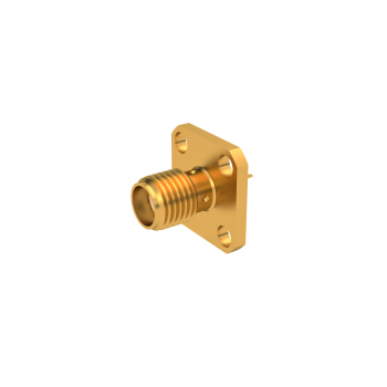 SMA / SQUARE FLANGE JACK RECEPTACLE WITH SOLDER POT CONTACT