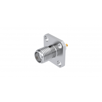 SMA / ADJUSTABLE SQUARE FLANGE JACK RECEPTACLE WITH CYLINDRICAL CONTACT