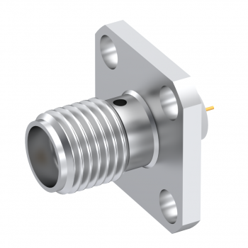 SMA / SQUARE FLANGE JACK RECEPTACLE WITH TAB CONTACT