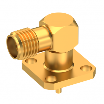 SMA / RIGHT ANGLE SQUARE FLANGE JACK RECEPT. WITH SOLDER POT CONTACT
