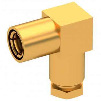 SMB / RIGHT ANGLE PLUG FEMALE SOLDER CLAMP FOR .141''/50 SR GOLD
