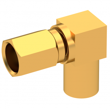 SSMC / RIGHT ANGLE PLUG FEMALE CRIMP TYPE FOR 2.6/50 D CABLE GOLD