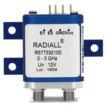 DPDT Ramses 2.4mm 50GHz Latching 28Vdc Positive common Pins Terminals with bracket