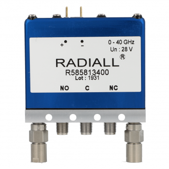 SPDT Terminated Ramses 2.4mm 50GHz Latching Self-cut-off Indicators 12Vdc Positive common Diodes External loads Pins terminals